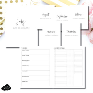 Classic HP Size | SIMPLE JUL - DEC 2020 Bundle: Weekly/Daily 3 COLUMN UNTIMED Printable Insert
