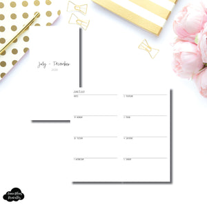 Standard TN Size | JUL - DEC 2020 | SIMPLE Horizontal Week on 2 Pages  Printable Insert