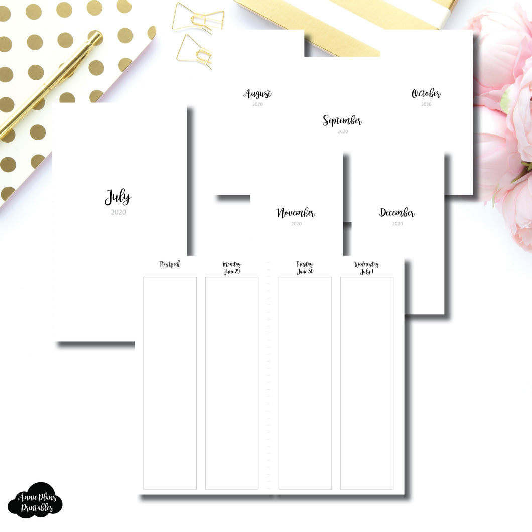 Personal TN Size | JUL - DEC 2020 | CLASSIC Vertical Week on 4 Pages Printable Insert