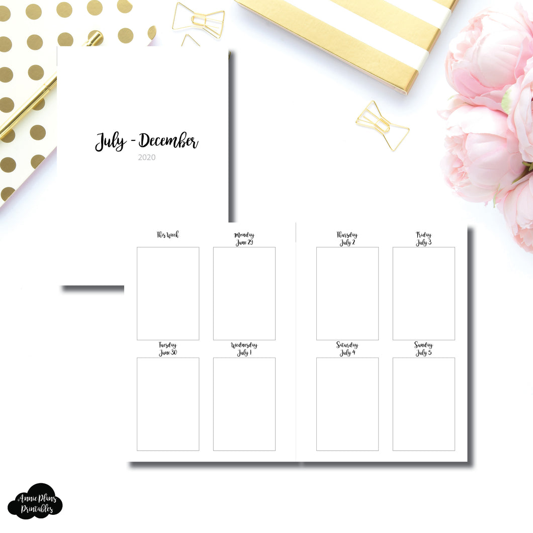 A6 Rings Size | JUL - DEC 2020 | CLASSIC Vertical Week on 2 Pages Printable Insert