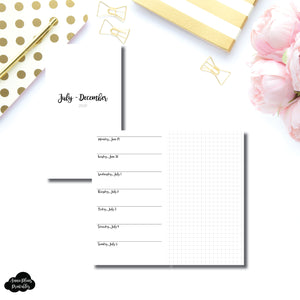 Personal TN Size | JUL - DEC 2020 | CLASSIC Horizontal Week on 1 Page + GRID  Printable Insert