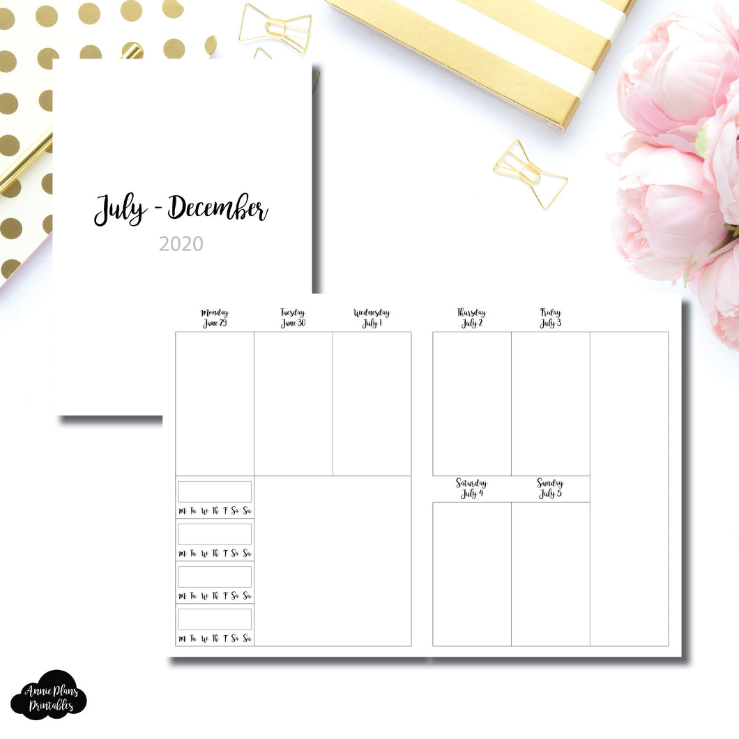 B6 TN Size | JUL - DEC 2020 | CLASSIC Vertical Week on 2 Pages With Trackers Printable Insert
