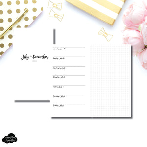 Personal Rings Size | JUL - DEC 2020 | CLASSIC Horizontal Week on 1 Page + GRID  Printable Insert