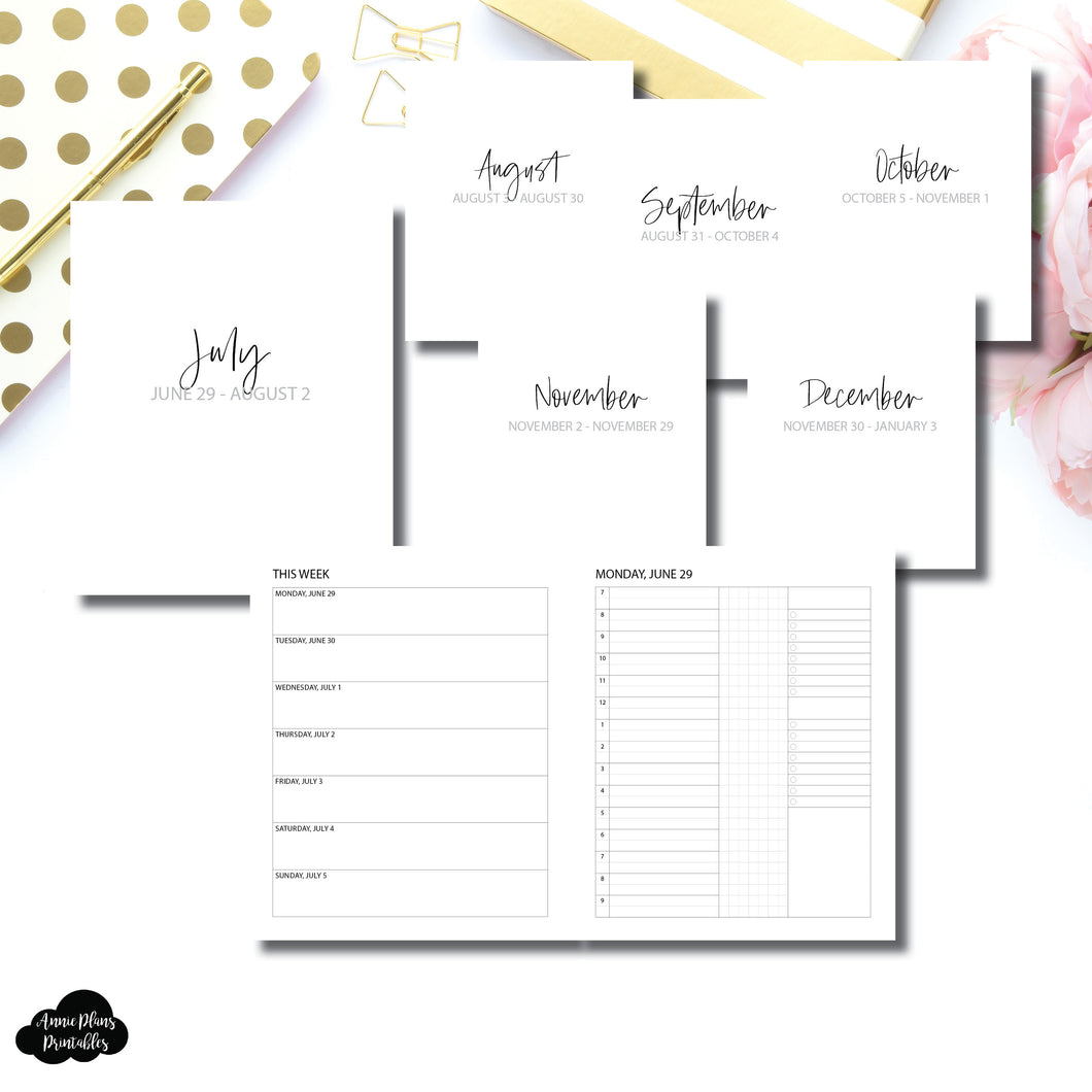 A5 Wide Rings Size | SIMPLE JUL - DEC 2020 Bundle: Weekly/Daily 3 COLUMN TIMED Printable Insert