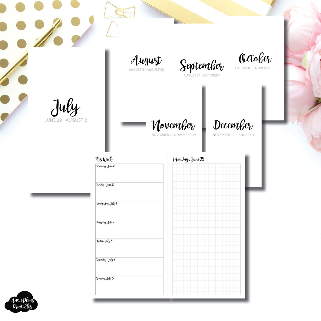 Standard TN Size | CLASSIC JUL - DEC 2020 Bundle: Weekly/Daily GRID Printable Insert
