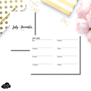 Pocket TN Size | JUL - DEC 2020 | CLASSIC Horizontal Week on 2 Pages  Printable Insert