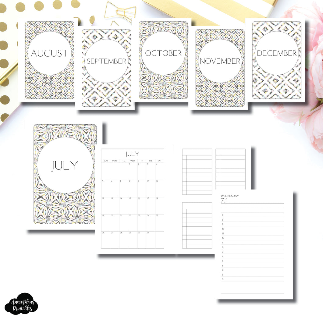A6 Rings Size | JUL - DEC 2020 Simple Full Month TIMED Daily BUNDLE Printable Insert