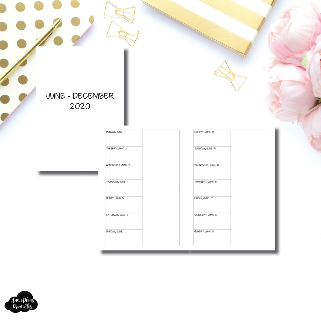 A5 Rings Size | JUN - DEC 2020 2 Column Week on 1 Page Layout (Monday Start) Printable Insert