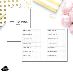Pocket Plus Rings Size | JUN - DEC 2020 Week on 1 Page Layout (Monday Start) Printable Insert