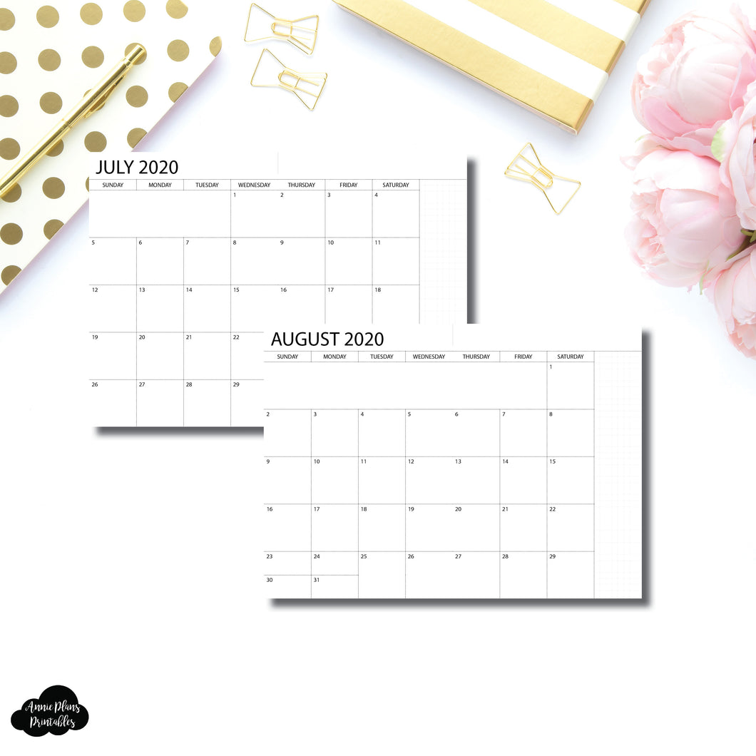 B6 Notebook Size | 2020 - 2021 Academic Monthly Printable Insert