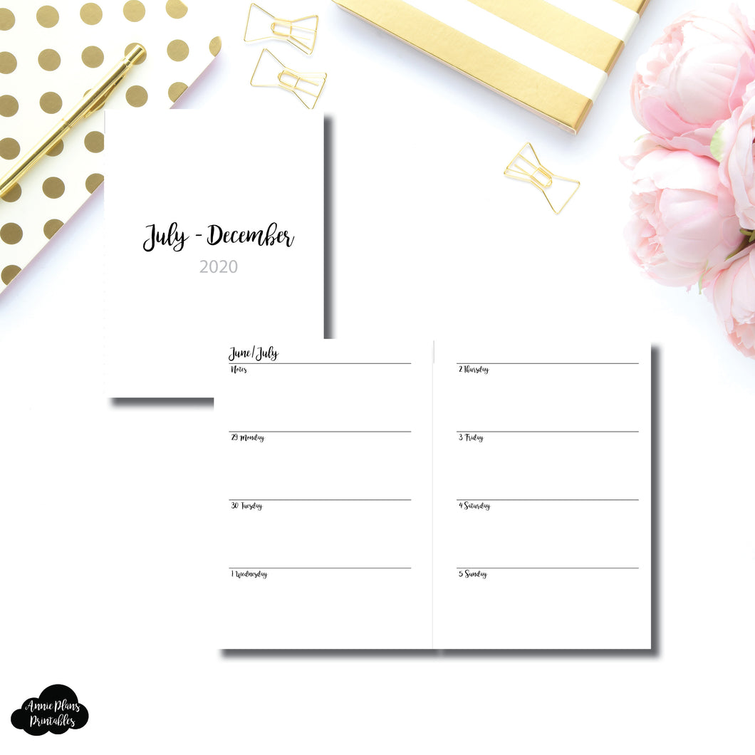 B6 Rings Size | JUL - DEC 2020 | CLASSIC Horizontal Week on 2 Pages  Printable Insert