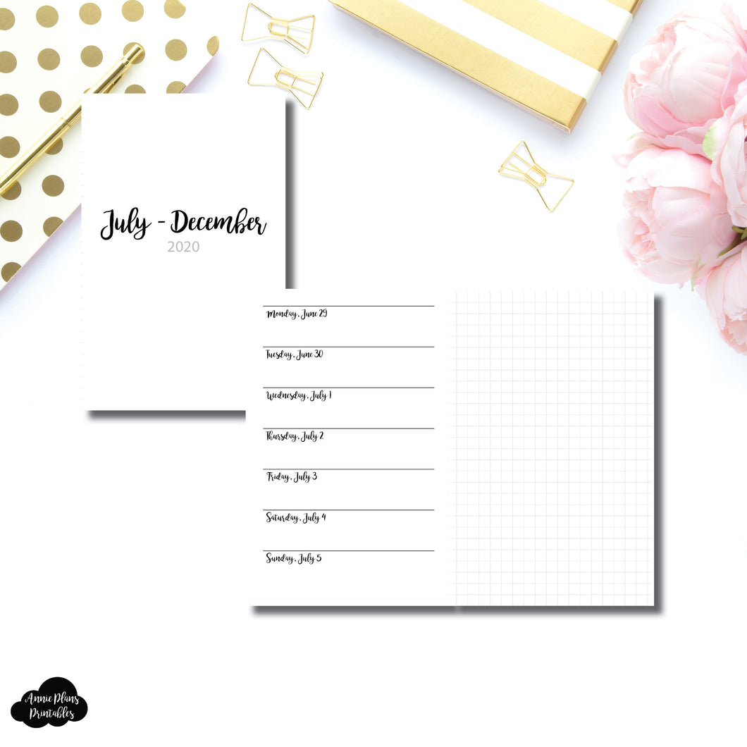 Pocket TN Size | JUL - DEC 2020 | CLASSIC Horizontal Week on 1 Page + GRID  Printable Insert