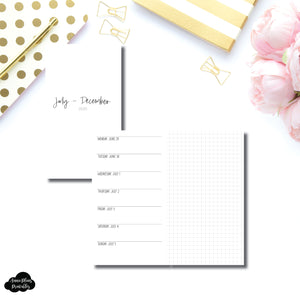 Personal TN Size | JUL - DEC 2020 | SIMPLE Horizontal Week on 1 Page + GRID  Printable Insert