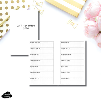 FC Rings Size | JUL - DEC 2020 Week on 1 Page Layout (Monday Start) Printable Insert
