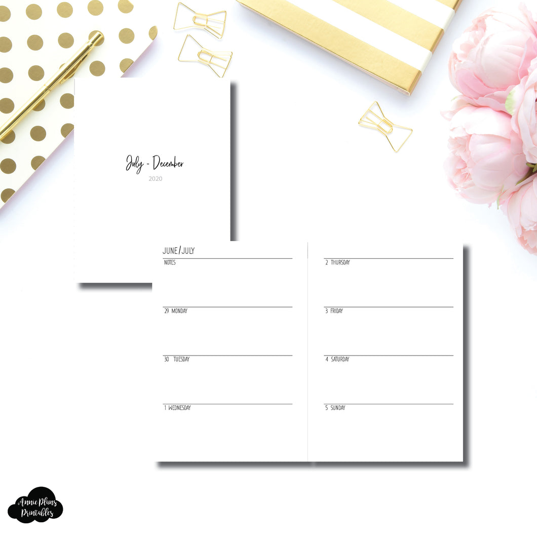 B6 Rings Size | JUL - DEC 2020 | SIMPLE Horizontal Week on 2 Pages  Printable Insert