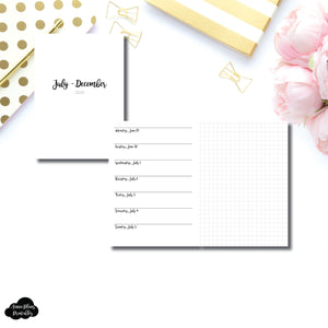 A6 TN Size | JUL - DEC 2020 | CLASSIC Horizontal Week on 1 Page + GRID  Printable Insert