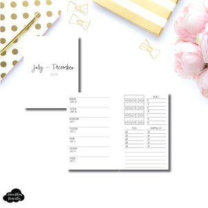 Pocket Rings Size | JUL - DEC 2020 | Week on 1 Page With Trackers + Lists  Printable Insert