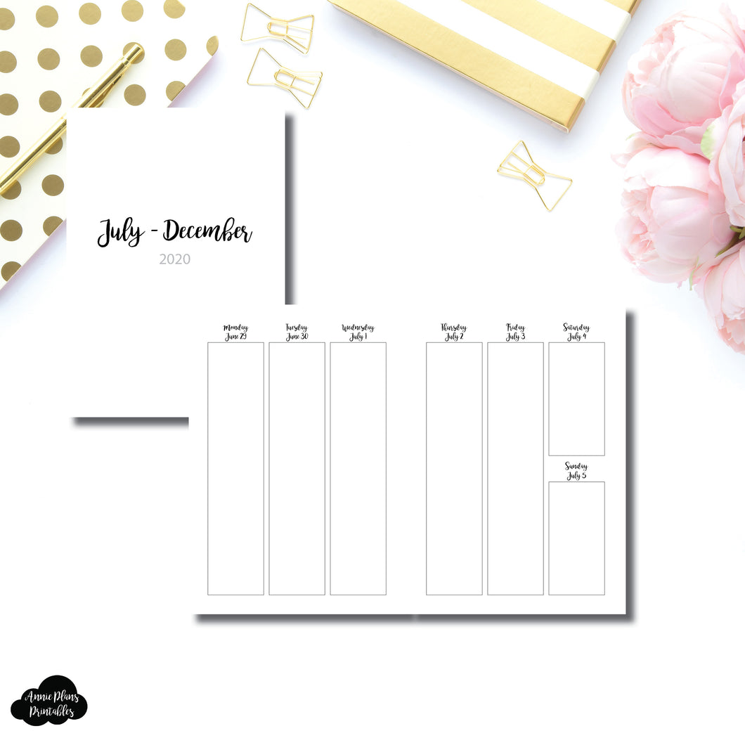 A5 Rings Size | JUL - DEC 2020 | CLASSIC Vertical Week on 2 Pages Printable Insert