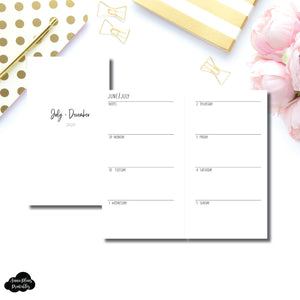 Personal Rings Size | JUL - DEC 2020 | SIMPLE Horizontal Week on 2 Pages  Printable Insert