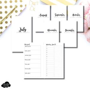 Personal Rings Size | CLASSIC JUL - DEC 2020 Bundle: Weekly/Daily TIMED Printable Insert