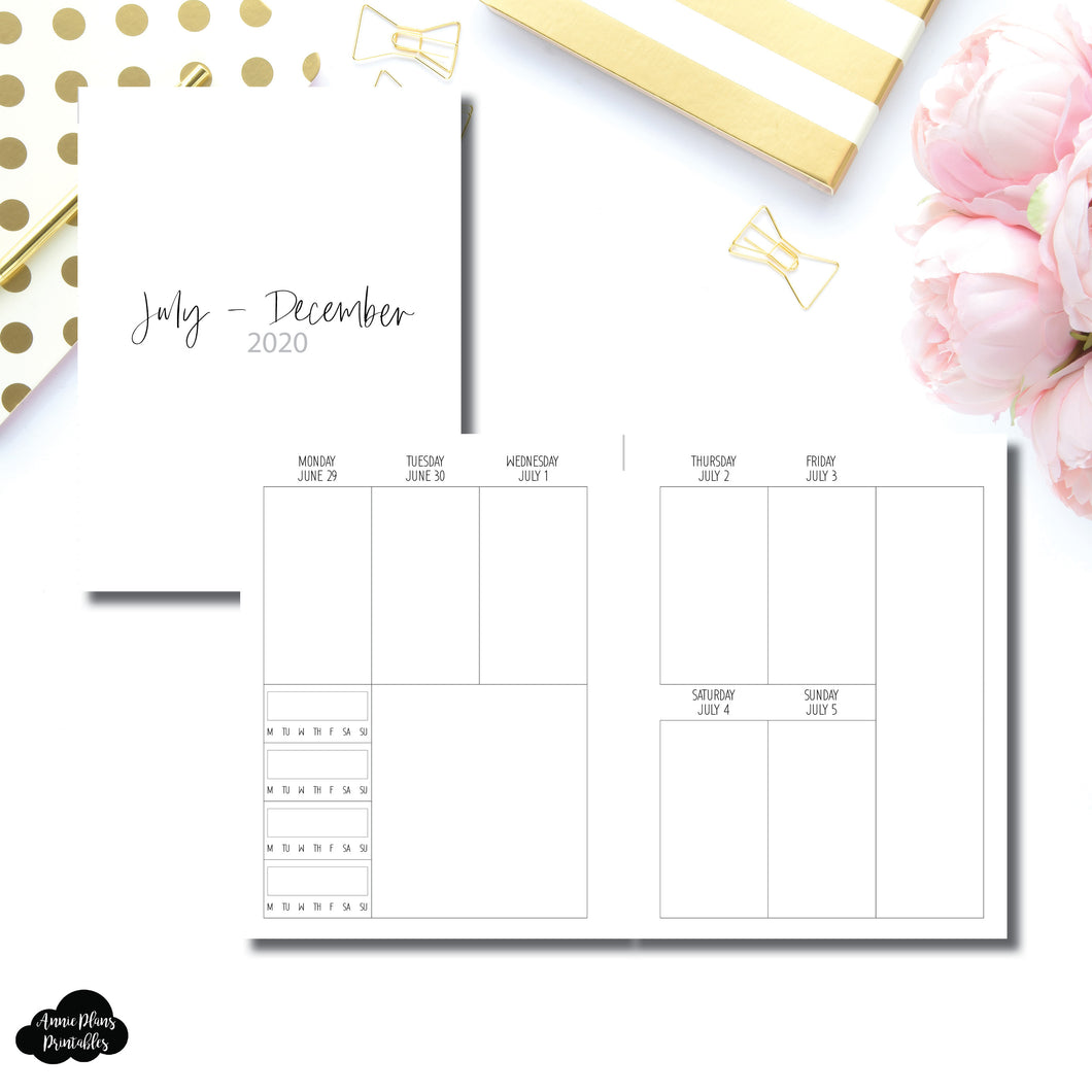B6 Rings Size | JUL - DEC 2020 | SIMPLE Vertical Week on 2 Pages With Trackers Printable Insert