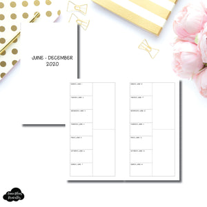 Personal Rings Size | JUN - DEC 2020 2 Column Week on 1 Page Layout (Monday Start) Printable Insert