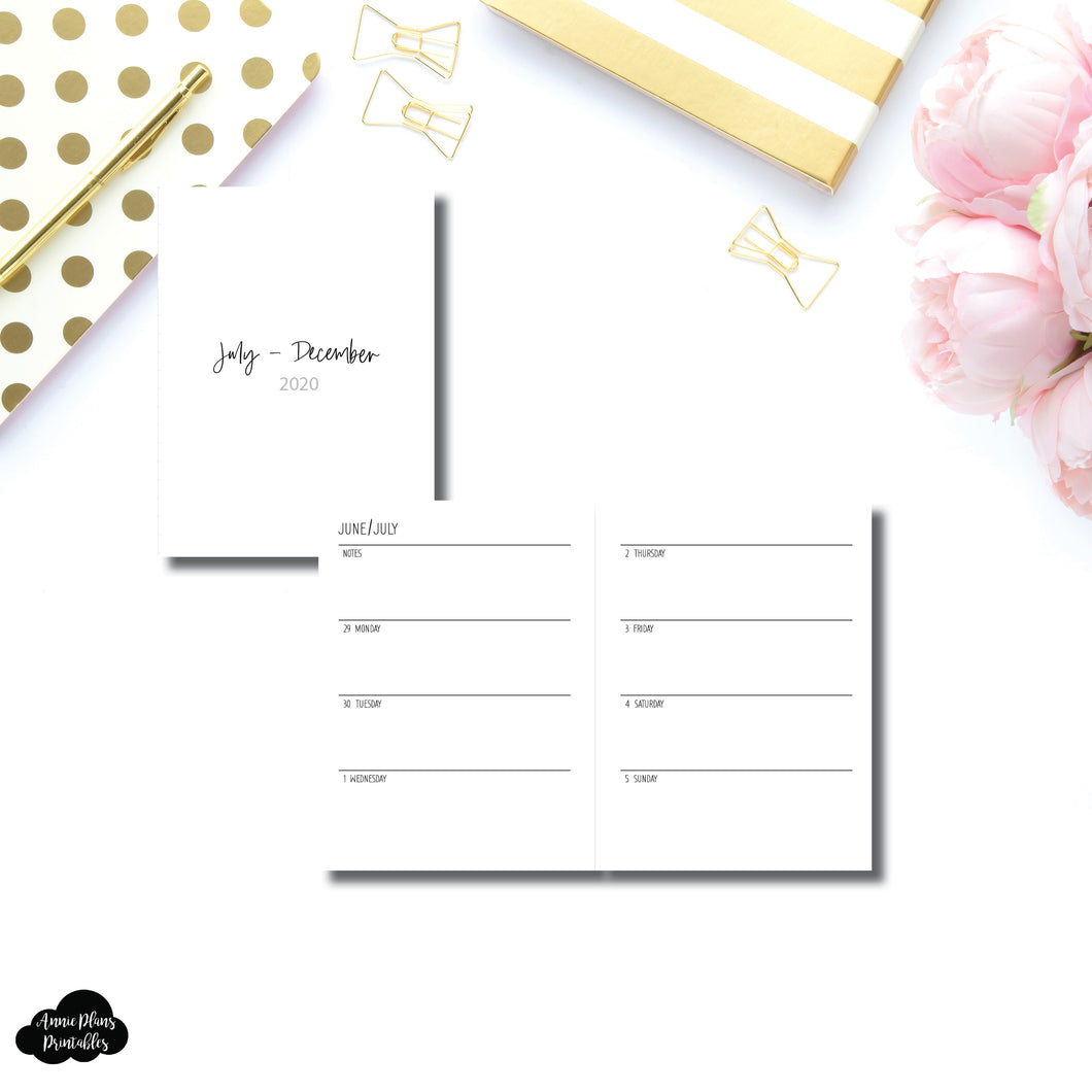 Micro TN Size | JUL - DEC 2020 | SIMPLE Horizontal Week on 2 Pages Printable Insert