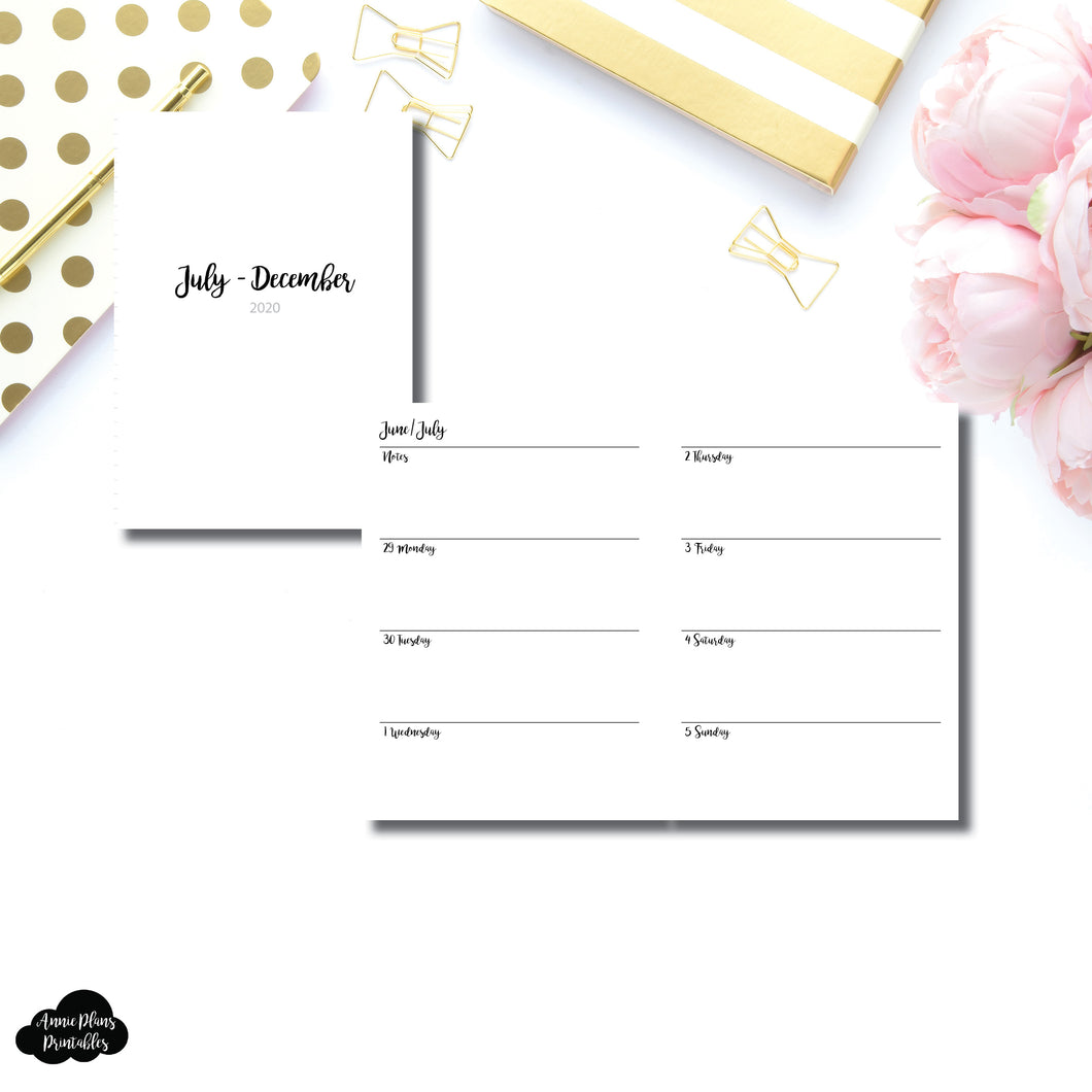 A6 TN Size | JUL - DEC 2020 | CLASSIC Horizontal Week on 2 Pages  Printable Insert