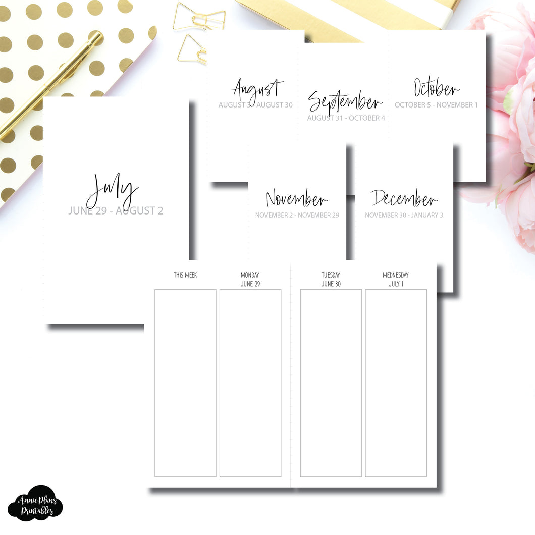 Pocket TN Size | JUL - DEC 2020 | SIMPLE Vertical Week on 4 Pages Printable Insert