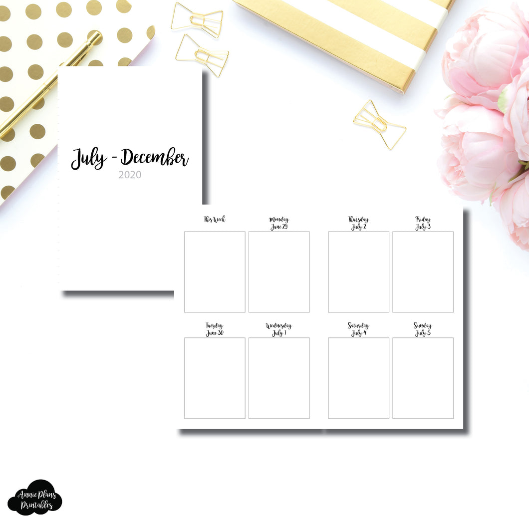 Pocket TN Size | JUL - DEC 2020 | CLASSIC Vertical Week on 2 Pages Printable Insert