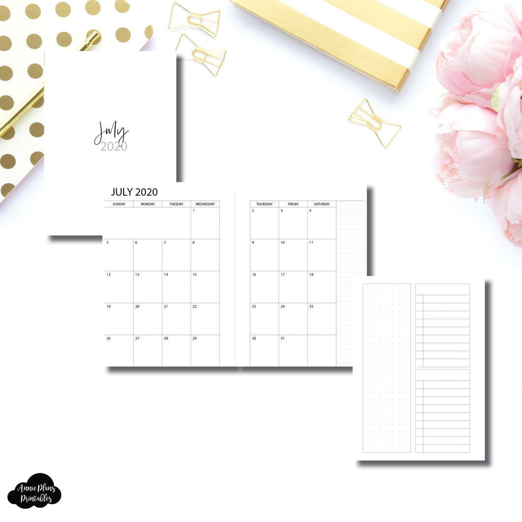 A6 Rings Size | 2020 - 2021 Academic Monthly With Cover & Notes Page Printable Insert