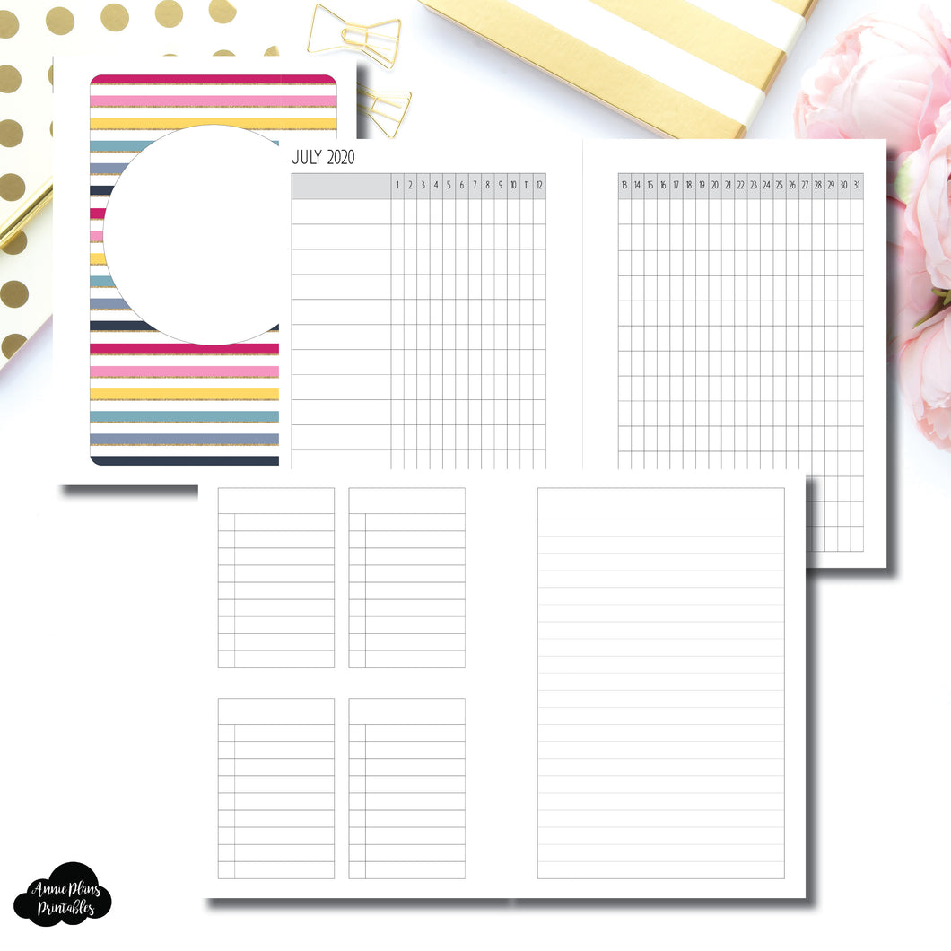 A6 Rings Size | JUL - DEC 2020 Tracker + Lists & Notes Printable Insert