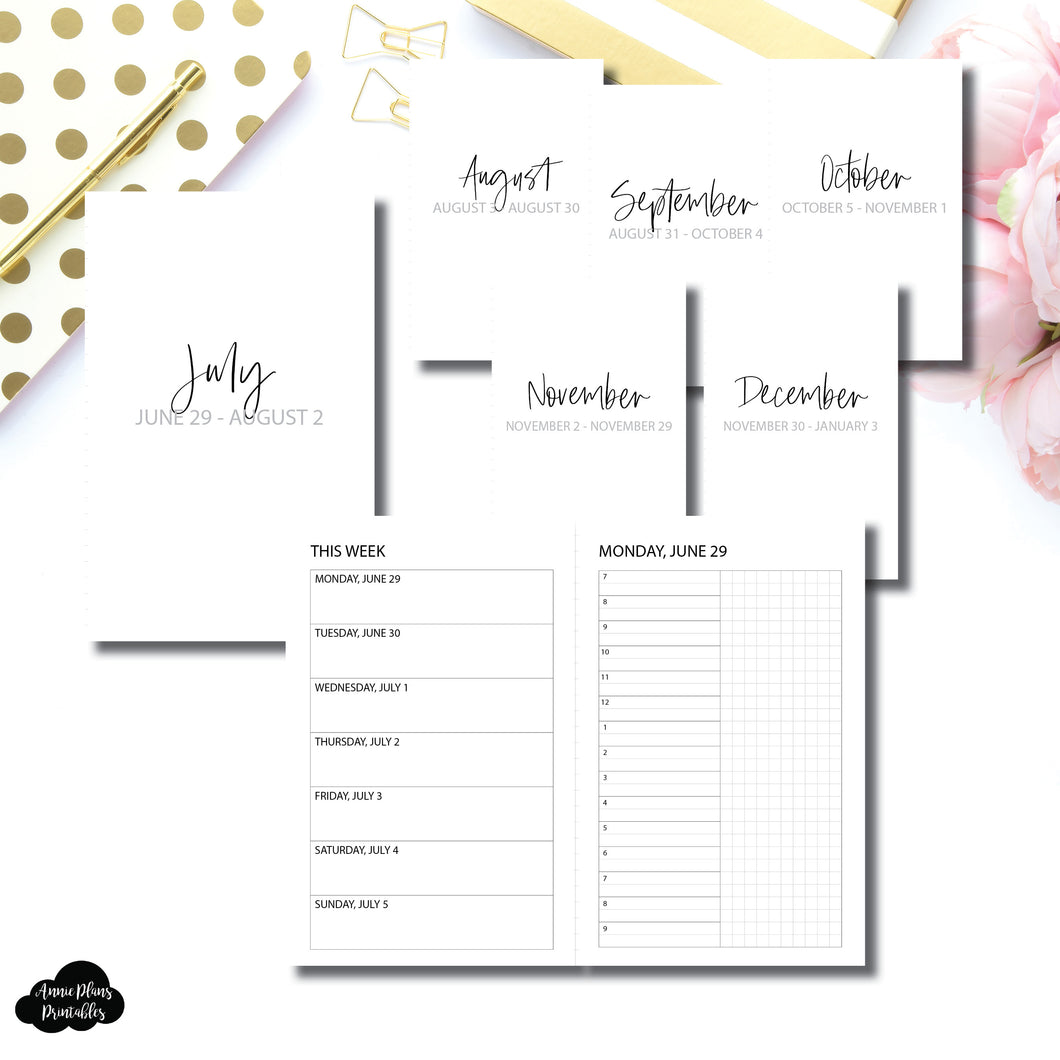 Pocket TN Size | SIMPLE JUL - DEC 2020 Bundle: Weekly/Daily TIMED Printable Insert