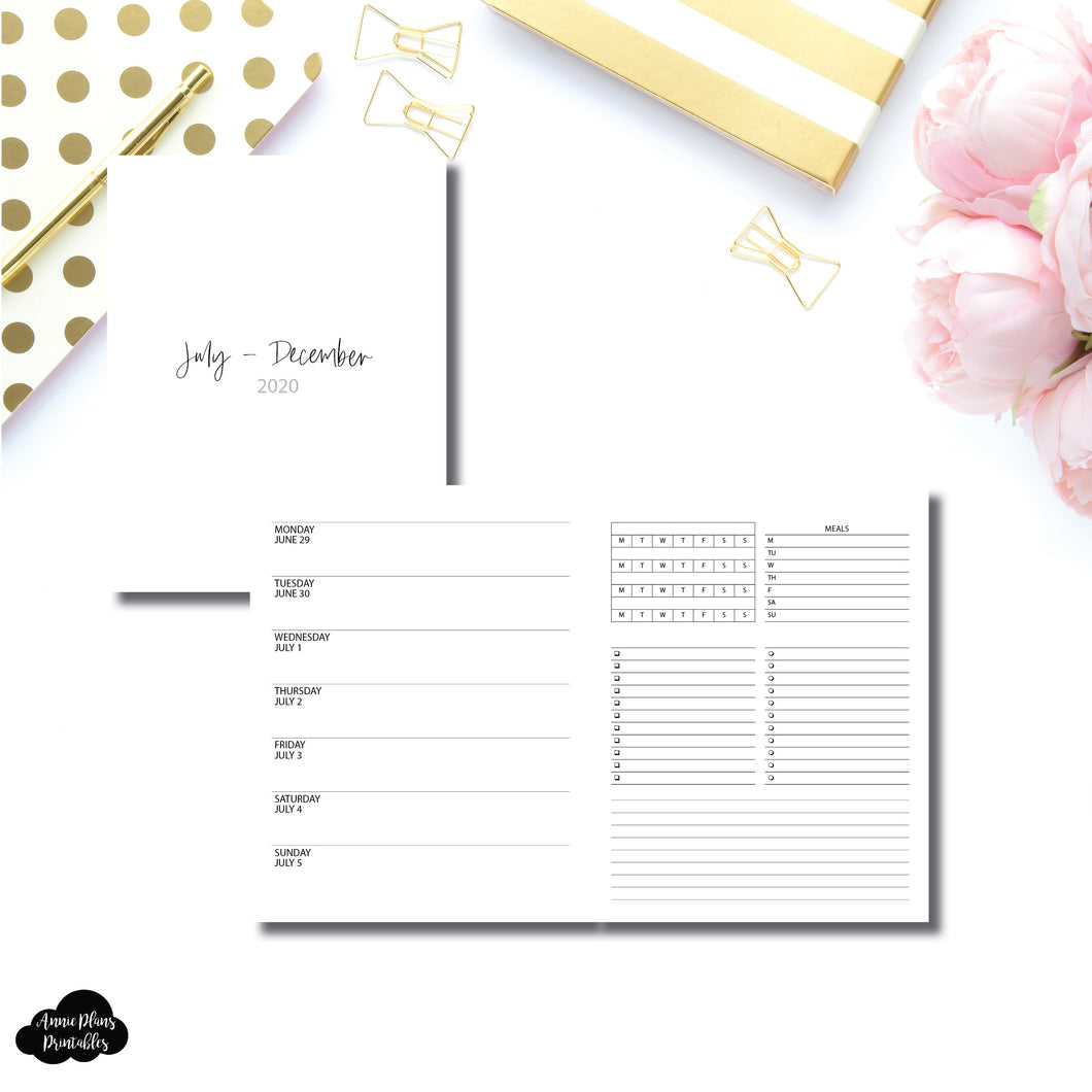 A5 Wide Rings Size | JUL - DEC 2020 | Week on 1 Page With Trackers + Lists  Printable Insert