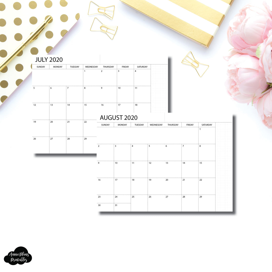 A6 Notebook Size | 2020 - 2021 Academic Monthly Printable Insert