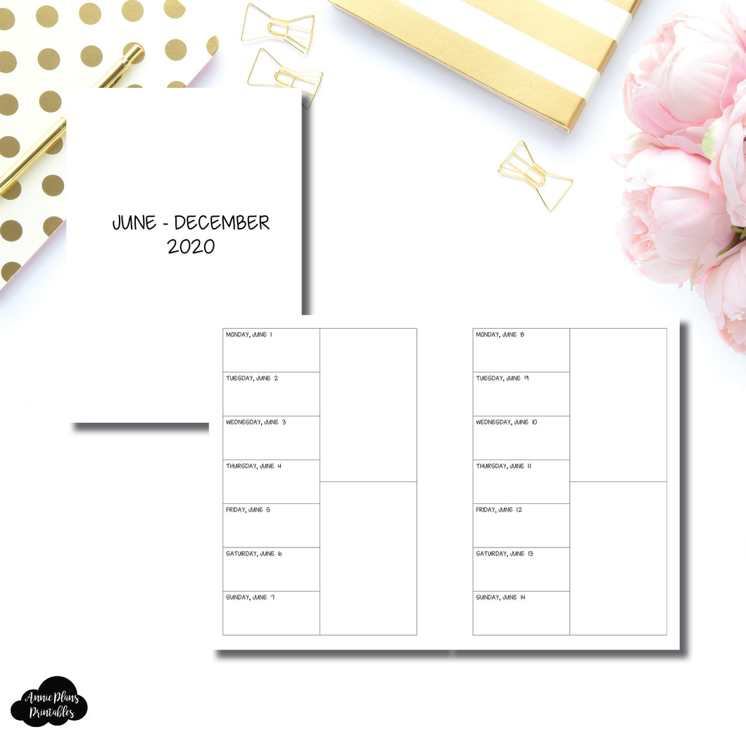A6 Rings Size | JUN - DEC 2020 2 Column Week on 1 Page Layout (Monday Start) Printable Insert
