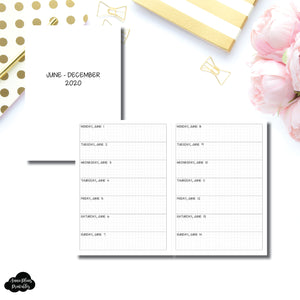 B6 TN Size | JUN - DEC 2020 Week on 1 Page Layout (Monday Start) Printable Insert