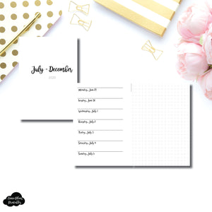 Pocket Plus Rings Size | JUL - DEC 2020 | CLASSIC Horizontal Week on 1 Page + GRID  Printable Insert