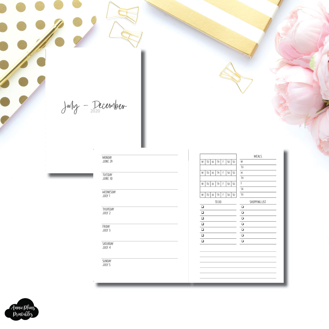 A6 Rings Size | JUL - DEC 2020 | Week on 1 Page With Trackers + Lists  Printable Insert