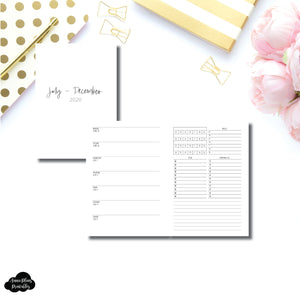 A5 Rings Size | JUL - DEC 2020 | Week on 1 Page With Trackers + Lists  Printable Insert