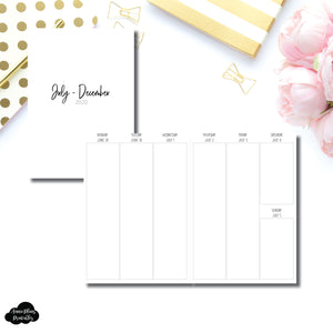 B6 TN Size | JUL - DEC 2020 | SIMPLE Vertical Week on 2 Pages Printable Insert