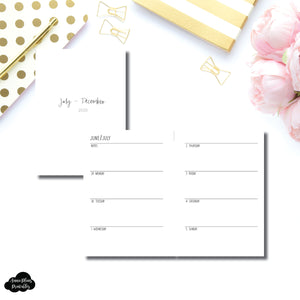 A6 Rings Size | JUL - DEC 2020 | SIMPLE Horizontal Week on 2 Pages  Printable Insert