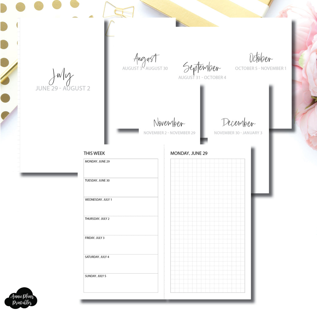 Personal TN Size | SIMPLE JUL - DEC 2020 Bundle: Weekly/Daily GRID Printable Insert