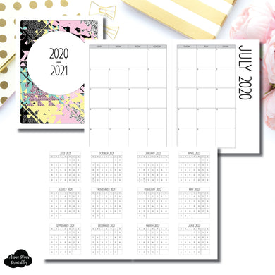 Letter Size Binder Ring Size | 2020 - 2021 SIMPLE FONT Academic Monthly Calendar (SUNDAY Start) PRINTABLE INSERT ©