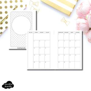 Pocket Plus Rings Size | 2020 MINIMALIST Monthly Calendar (SUNDAY Start) PRINTABLE INSERT