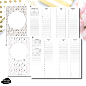 FC Rings Size | FEB - DEC 2020 Minimalist Timed + Checklist Vertical Printable Insert
