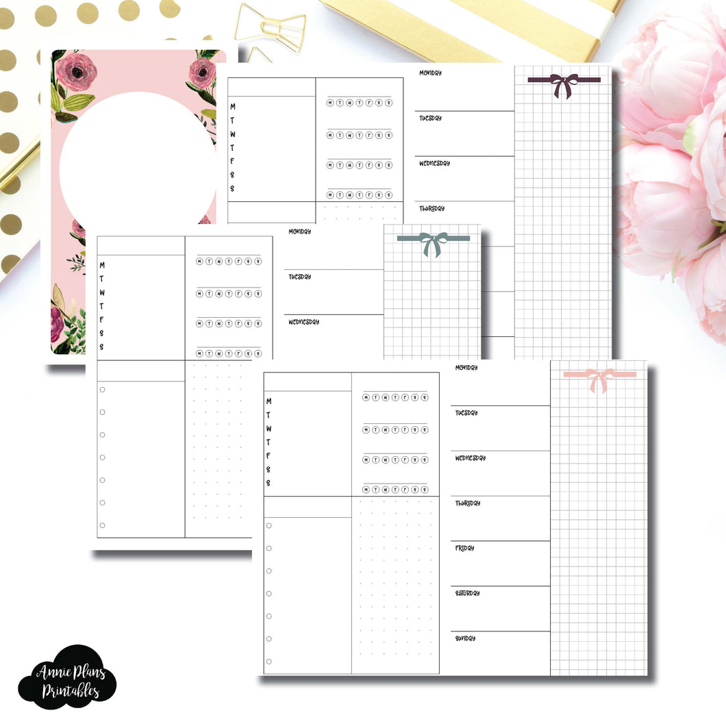 B6 Slim TN Size | Undated Week on 2 Page Layout Printable Insert ©