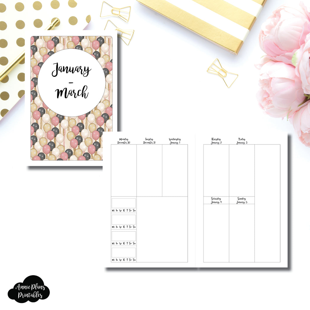 A5 RINGS Size | JAN - MAR 2020 | BASIC Vertical Week on 2 Page (Monday Start) With Trackers Printable Insert ©