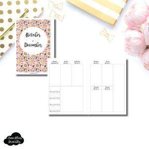 Personal Wide Rings Size | OCT - DEC 2019 | BASIC Vertical Week on 2 Page (Monday Start) With Trackers Printable Insert ©
