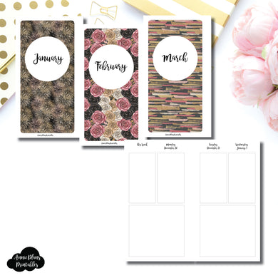 Personal Rings Size | JAN - MAR 2020 Basic Vertical Week on 4 Page (Monday Start) Layout Printable Insert ©